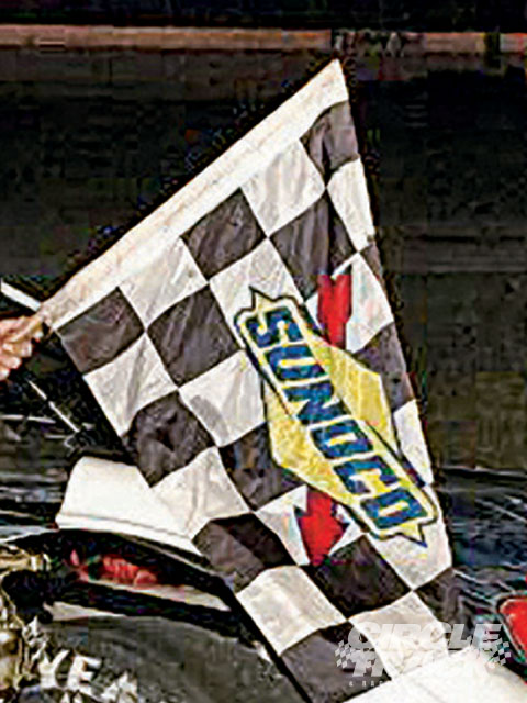 Other than the green flag this is the only other one that waved. No one believed that 22 Drit Late Models could run 50 caution-free laps on asphalt, but they did.