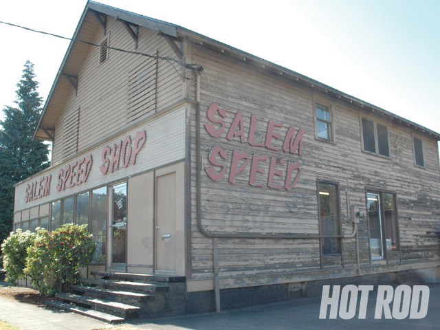 The current Salem Speed Shop building, built at the turn of the last century, is on a main street near downtown. Glenn gave us a tour of the main floor but wouldn't let us peek upstairs, in the basement, or in the separate building next door, which are all full of parts, too.