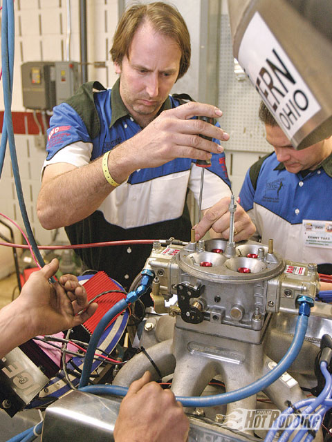 Within the time constraints, working under pressure while keeping a cool and clear head is a key to success in this event. Here, Mark McKeown works at dialing in the air bleeds of a Dominator carb.