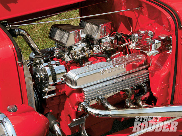 A '62 Buick 401 is the basis for the motorvation in Cale's ride, and it dressed up nicely with a pair of Edelbrock 500-cfm Ultra Shine carbs, an Isky cam, Egge pistons, and a compression ratio of 10:1. Kern did all of his own machine work, and assembled the V-8 with an MSD ignition system (with Taylor wires), an O'Brien Truckers aluminum valley pan, and valve covers that were polished by Jeff Smith Polishing. Kern also made his own stainless steel headers and exhaust system.