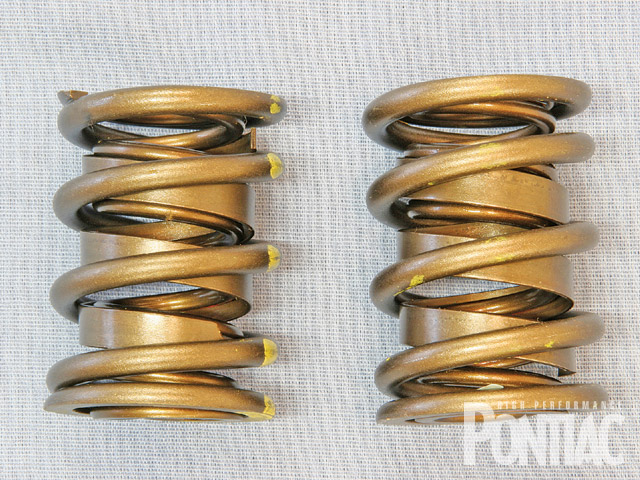 Traditional dual-valvesprings such as these were commonplace on vintage Pontiac engines. Remaining quite popular today, technology has brought us new advances that improve effectiveness and even allow the use of dual-spring packages where high-pressure, triple-spring packages were once required.
