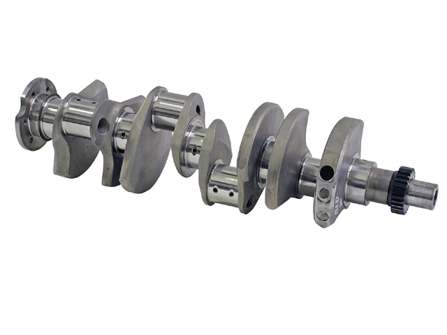 The forged 4340 crankshaft is from 440 Source and has 400 main bearing sizes but a 440's 3.750-inch stroke.