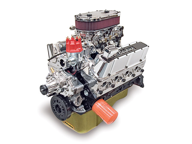 Edelbrock offers its 347-cube small-block Ford crate motor in single- and dual-quad form, as well as with Pro-Flo XT fuel injection. Prices range between $10,000 and $12,500, depending on options. The dual-quad version shown with EnduraShine finish is $11,500.