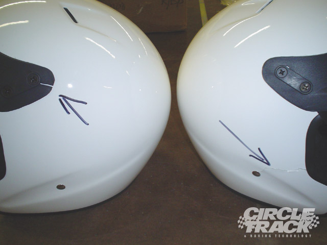 Helmets that have hairline cracks in them like these should be sent back to the manufacturer for inspection.