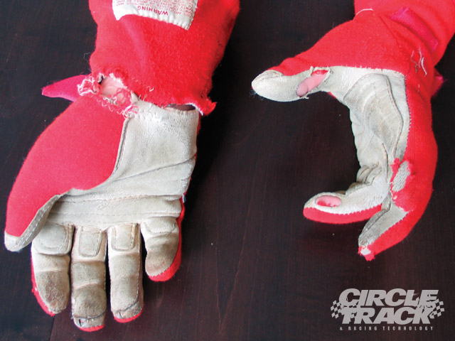 This is an extreme example, but if you've been using the same gloves for a while, inspect them closely. Seams can wear thin and padding can come loose. For kids who race, they can experience a growth spurt that can even make a new set of mitts obsolete.