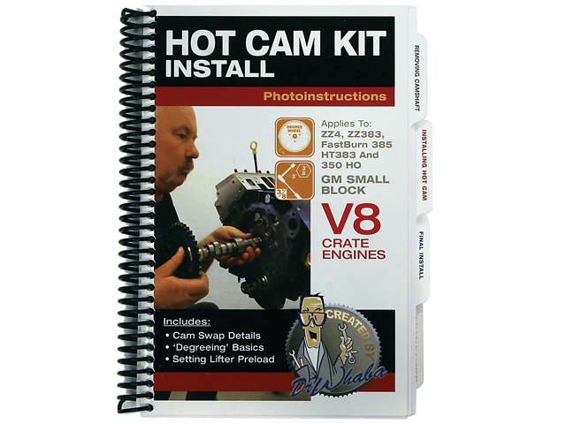 Although written as an installation aid for plugging a GM HOT hydraulic roller cam into ZZ4, FB385, HT383, or 350 HO crate engines, the step-by-step Hot Cam Kit Install makes cam swaps on any late-model Chevy small-block so easy even a novice can do it. The durable ring-bound book is available exclusively from Scoggin-Dickey.