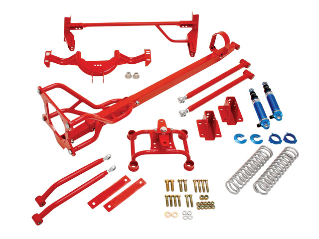 BMR's rear suspension bolt-in kit for first-gen Camaro/Firebird can be installed without any fabrication or welding. All parts in the kit come powdercoated in your choice of red or black hammertone.
