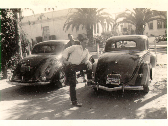 Kenny Harmon strikes a bravado pose on his bumper while Jack looks on.  Sadly Kenny went into service shortly after the photo was taken and a year later was killed in action. Jack's first car was a Flathead powered Model A. The '37 coupe replaced it. The Plymouth served him well.