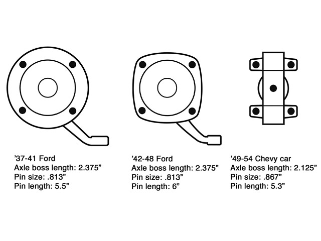 This diagram is helpful for identifying '37-41 and '42-48 Ford spindles and '49-54 Chevy spindles. On original Ford spindles, the steering arms are part of the spindle forging and require heating and bending to work with dropped axles. Original Chevy passenger car and truck spindles look very similar, but the truck spindles are taller. Chevy car spindles measure 3-13/16-inches between the upper and lower backing plate bolt holes; pickup spindles measure 4-5/16-inches. It's the Chevy car spindles that have been adapted for use on street rod axles.