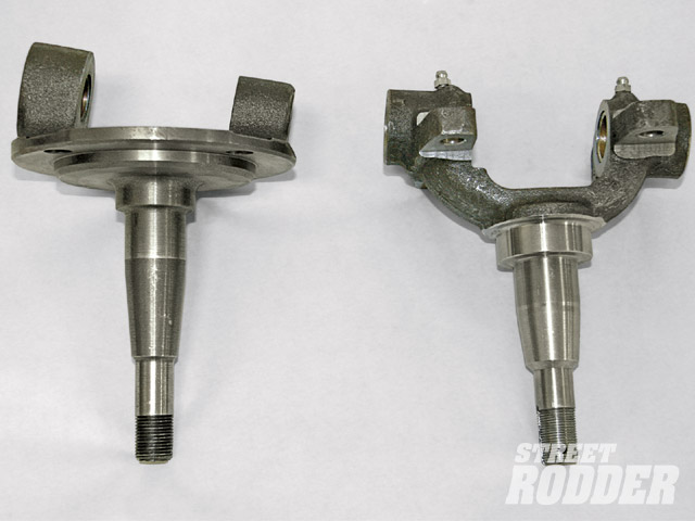 This photo illustrates the distinct difference in kingpin inclination between the Ford- and Chevy-style spindles. Also note that the Chevy-style spindle has a shorter, thicker axle stub, which arguably makes it a slightly stronger design than the Ford.