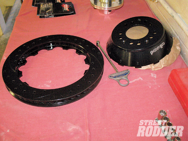 Wilwood's SLP  rotors are vented, drilled, and slotted. They bolt to a hat  (right), which in turn bolts to the hub.