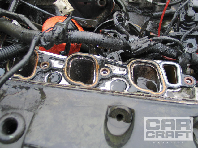 This is the '99-and-later PI intake port from the 4.6L cylinder head. Note the rectangle and dogleg. These engines can make an easy 450 hp with a Vortech centrifugal and the stock short-block.