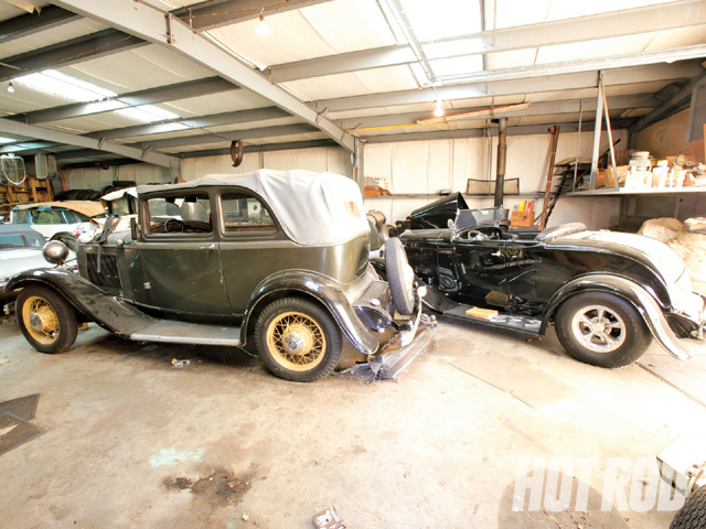 The other '32 B-400 Embassy car is parked next to an all-steel '32 Ford roadster with a complete '62 Vette drivetrain.