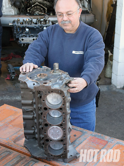 Stock replacement short-blocks are built and sold by thousands of independent local rebuilders and auto parts stores nationwide. We got our assembly from Omar Carrillo's Coast Engine Supply in Canoga Park, California. If you don't have an old engine to exchange, Coast will charge you a $200 core fee.