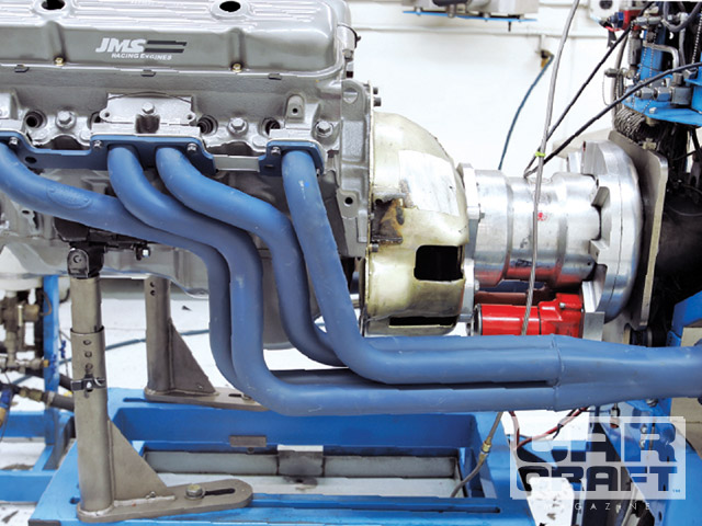 The Hooker headers are PN 1204HKR, and we wanted something more retro than ceramic silver, so Jet-Hot made them blue for us. Jet-Hot can also do red, gray, green, and black. We're not sure why we didn't do the engine in Buick red.