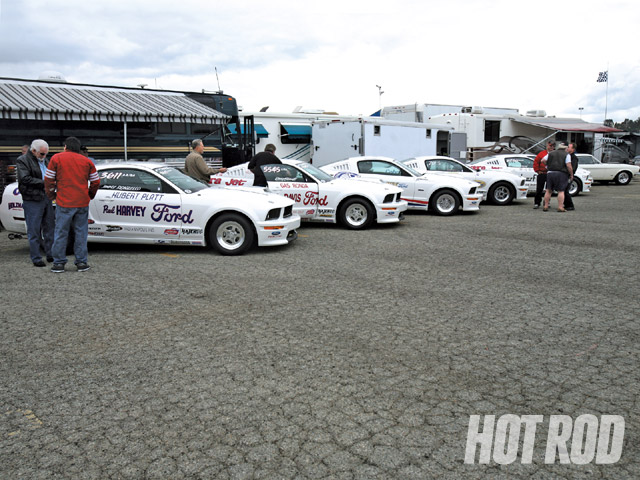 There were actually six '08 Cobra Jets at the track, but only four of them were race-ready. The Hajek/Calvert compound also featured John's original '68 Cobra Jet race car (far right).