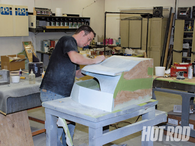 Here, a corner buck is being fabricated in plywood and plastic. Many of the craftsmen at Special Projects were trained in-house to handle the company's do-anything capabilities.