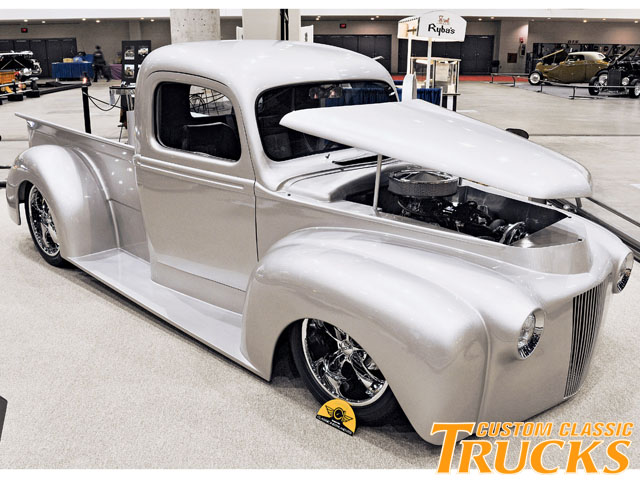 Although it has taken a few years, there are more and more '46-'47 Ford pickups showing up and gaining favorable popularity. This silver '46 is an excellent example of what great looking trucks they are with a little customizing. Anything Cool Custom are the builders of this slick '46, which looks great laying low thanks to an air ride suspension.
