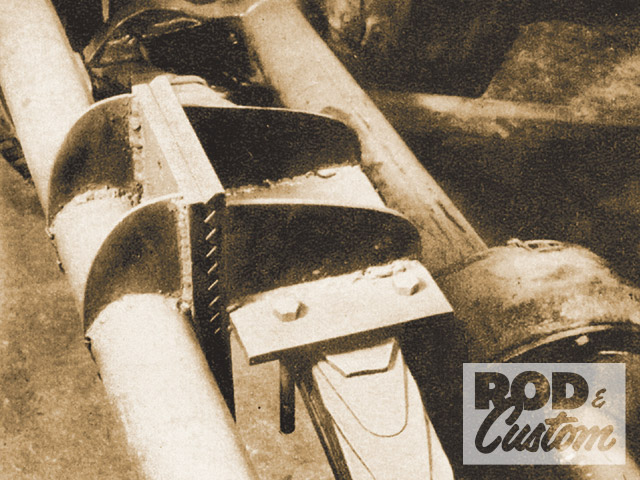 The suspension mounting system was similarly clever. To tune ride height, Jay created this adjustable rear spring perch. To ensure that it wouldn't slip under load, he made it from serrated plate. The entire rear suspension came from a '48 Ford and wore earlier Lincoln self-energizing brakes.