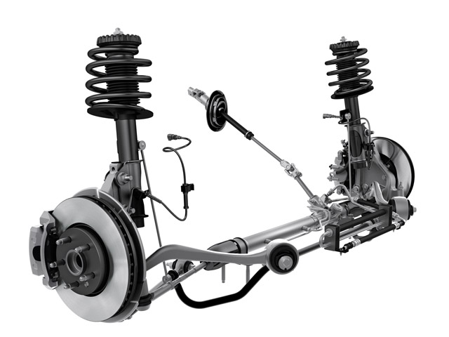 Front suspension is McPherson strut/dual-ball-joint hybrid with an antiroll bar and a 16.1:1 steering rack. This is the V-6 version with single-piston brake calipers and 12.64-inch rotors.
