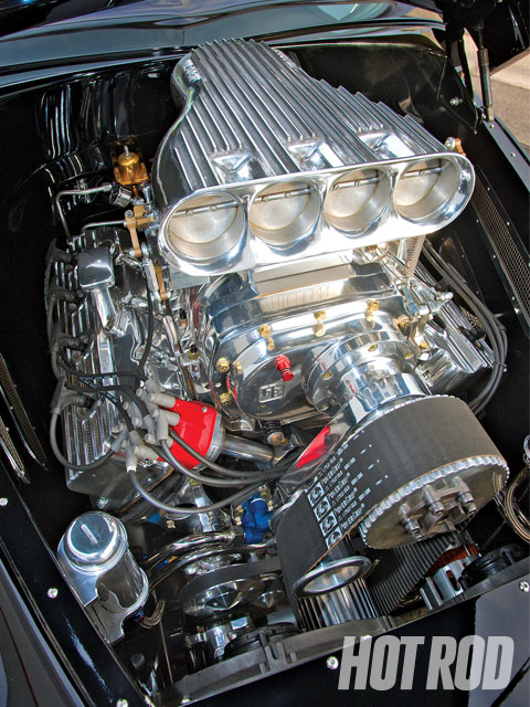 Taylor Engines took the heirloom block, heads, and crank and combined them with H-beam roads and 8.5:1 JE pistons with Speed-Pro rinds to create 498 ci. With an 8-71 Hampton blower and Hilborn injection, it dyno'd at 714 hp at 6,000 rpm and 708 lb-ft at 4,400.