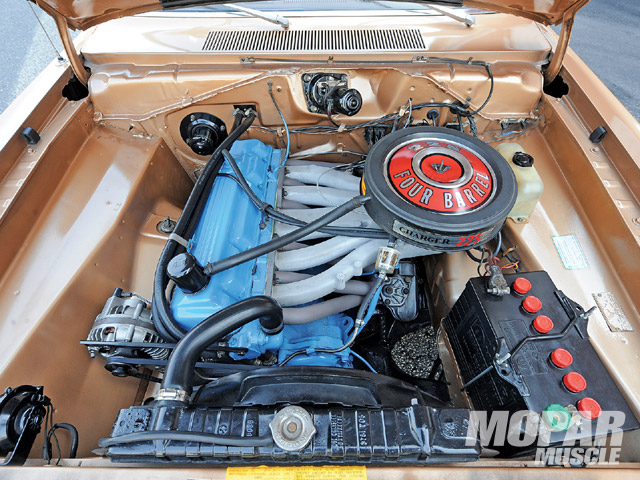 This sight is becoming less common as many A-Body owners have decided to ditch their Slant Six engines and replace them with a small-block. As it sits, there is little hint as to what's going on inside. It produces enough power to shoot the Swinger into the 14s in the quarter-mile.