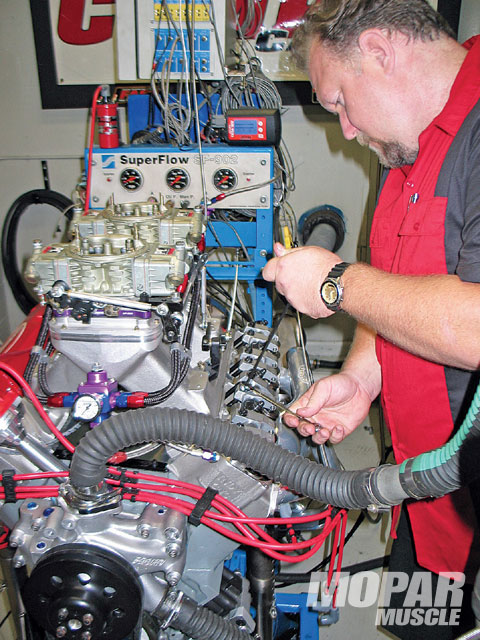 While on the dyno at Comp Cams' Memphis facility, August efficiently tuned his engine by making ignition timing and valve lash changes to optimize power.