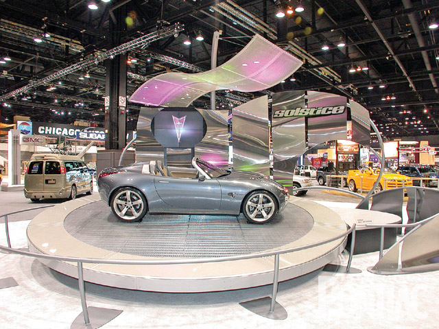 Following years of concept cars that explored styling extremes, Pontiac pulled it all together and showed off the Solstice concept sports car at the '02 show. While most of the concepts of the last several years never made production, the Solstice would be on a direct line to the showrooms, but it took until the '06 model year. Aimed at the basic sports-car market, it had a four-cylinder engine and rear-wheel drive.