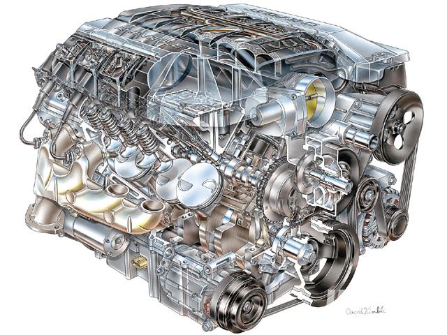 The new 400hp/410-lb-ft L99 Gen IV 6.2L motor used on '10 Camaro SS auto trans applications couples active fuel management (AFM) with advance/retard VVT. AFM lets the engine run on only four cylinders under light loads. Note the piston valve notches needed to provide clearance with the phased cam; most earlier LS-type engines had pure flat tops.