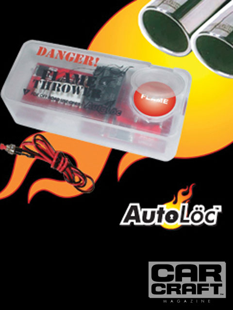 Auto Loc's flamethrower kit comes with its own ignition module-an electronic trigger that fires a pair of remote coils and operates independently from the car's ignition system. The advantage to this is you don't have to interrupt spark to the engine to light the fuel in the exhaust. This system is designed for noncatalyst cars as well, but industrious folks can probably figure out a way to richen up the exhaust stream.