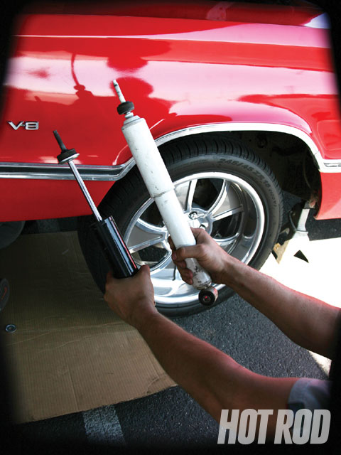 The Hotchkis shocks made a much bigger difference than we expected. That's because they made it easier to stabilize the car in the transitions between the cones. The shocks are tuned with the spring rates and vehicle weight in mind specifically for Mopar B- and E-Body cars.
