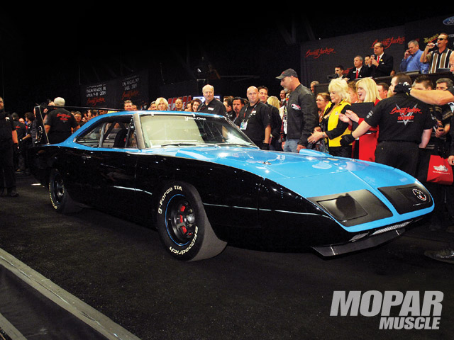 Richard Petty drove this tribute Superbird onto the auction block at this year's Barrett-Jackson auction in Scottsdale, Arizona. There, it sold for $501,000--to benefit the Darrell Gwynn Foundation. (Courtesy Barrett-Jackson)