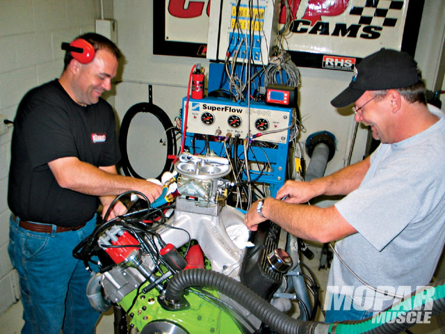 Sensing engine builder Scott Schurbon's frustration, the crew from Chenoweth Speed and Machine pitched in to help make the best of Schurbon's dyno time. Within a few minutes, Scott was himself again, joking around and tuning his 440 to well over 650 hp.