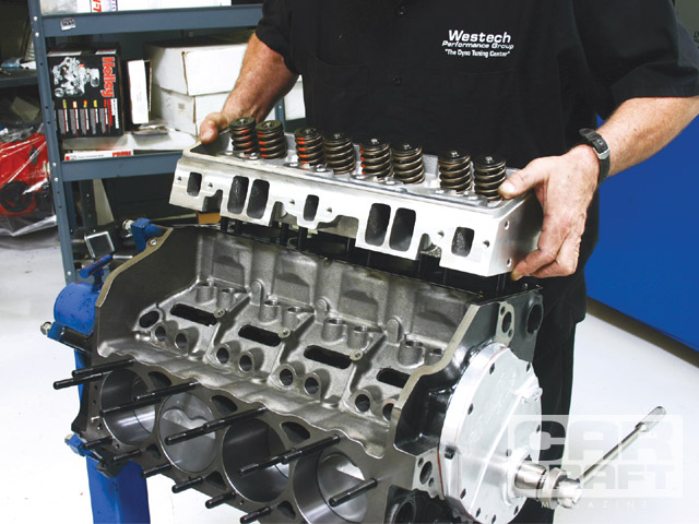 The Dart SHP short-block came preassembled, which made bolting together the rest of the engine easy once Brule degreed the cam and verified the piston-to-valve clearance.