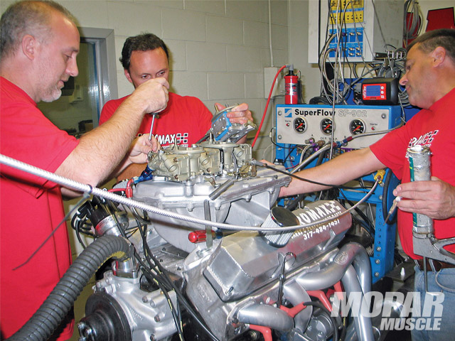 During their dyno pulls, the Promax crew optimized their combination through carburetor changes. Unlike factory units, the Promax Six-Pack carbs offer easy tuning with specially built metering blocks and changeable jets in all three carburetors.