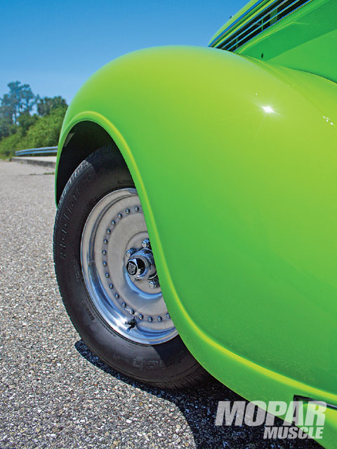 The lightweight Center Line solid face wheels were intended for drag use, but their good looks lend themselves to street and show duty on Rick's '38.