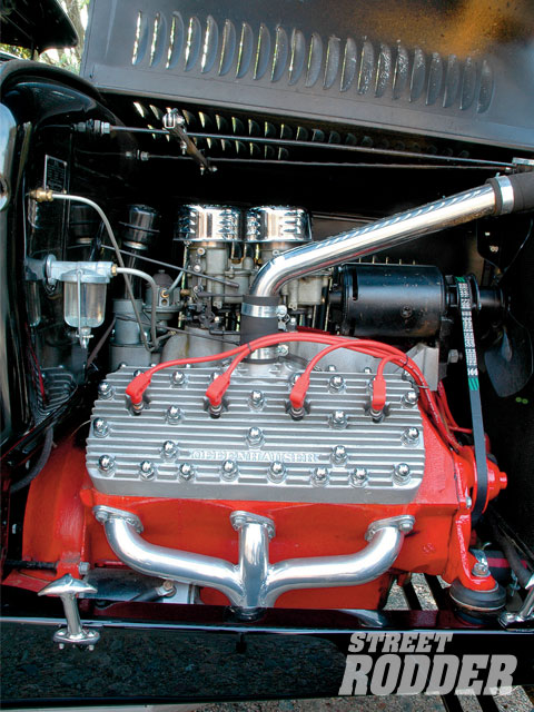 Richie had Joe Smith build a '48 Ford 276-inch Flathead V-8 packed with a 4-inch Merc crank, Ross slugs, and a Winfield cam. Topped by Offy heads and a matching Offy two-pot outfitted with a pair of Holley 94s.