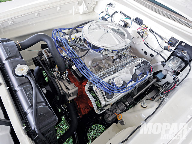 '64 Savoy's engine bay now holds a 472-ci Mopar Performance crate Hemi in place of the long-removed stock 225 Slant Six.