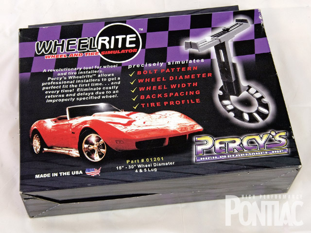 The Percy's Wheelrite (PN 01201) is available directly from the company for $99. Capable of measuring wheel diameters between 15 and 30 inches for four and five-lug applications, it can support wheel-width measurements of 6-11-plus inches, and identify the proper backspacing to allow an enthusiast to confidently order custom wheels.