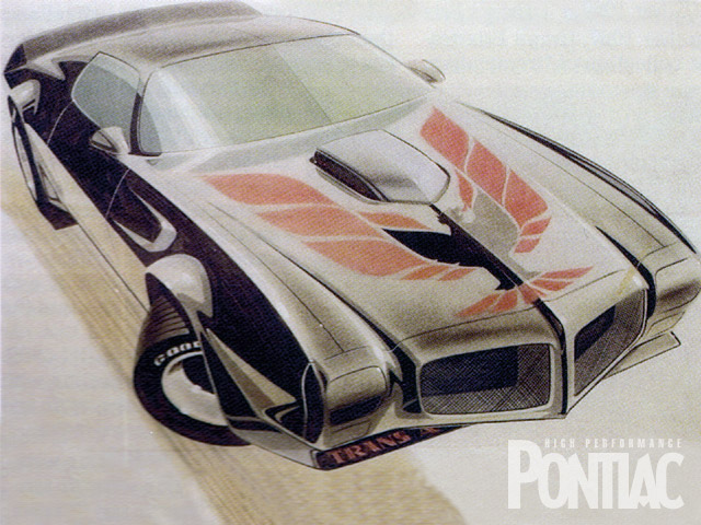 On this designers rendering of the bold '701/2 Trans Am, you can see that the hood bird was designed for the '701/2 model, but it didn't make it into production until the '73.