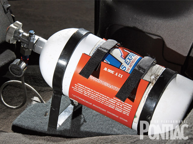 The 10-pound NX bottle is heated to maintain optimal bottle pressure.