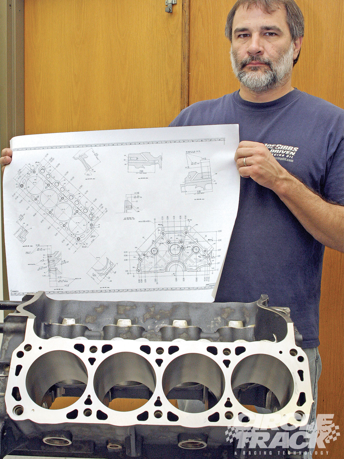 Engine builder Charlie Long was one of the first people outside of Ford to get his hands on Ford's new 351 Boss block and N351 racing cylinder heads. Here, he compares the casting to Ford's own blueprints for Circle Track.