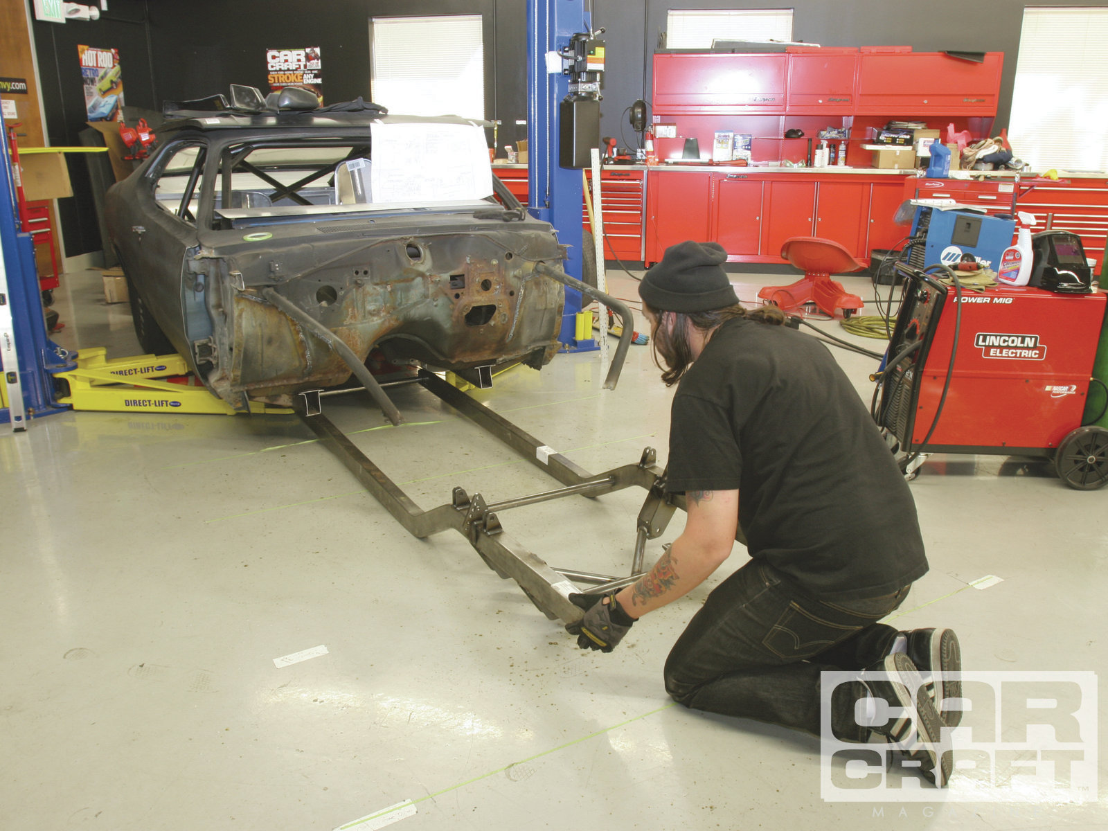 The suspension mounts were already welded in place by the guys at Chris Alston. It's an option we recommend. The frame was long so we could cut it to fit.