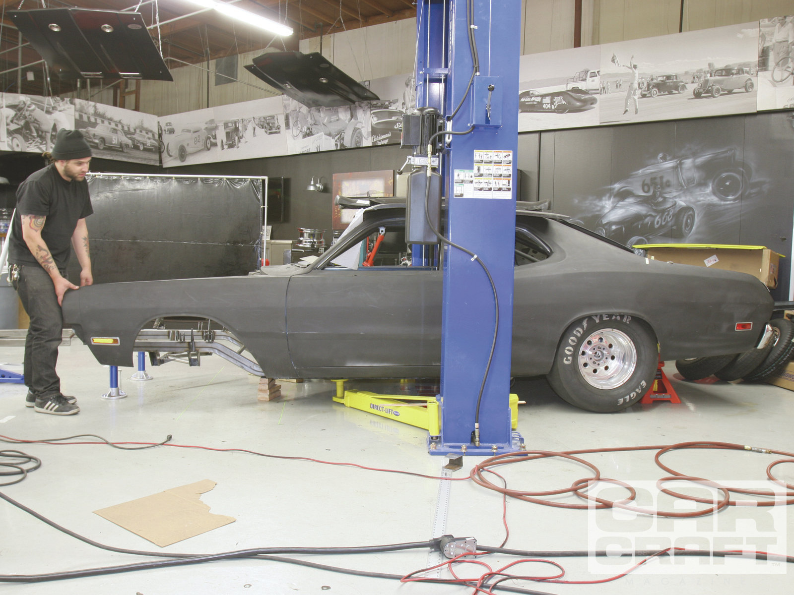 Before we tacked the frame in place, we mounted the front fenders for one final check.