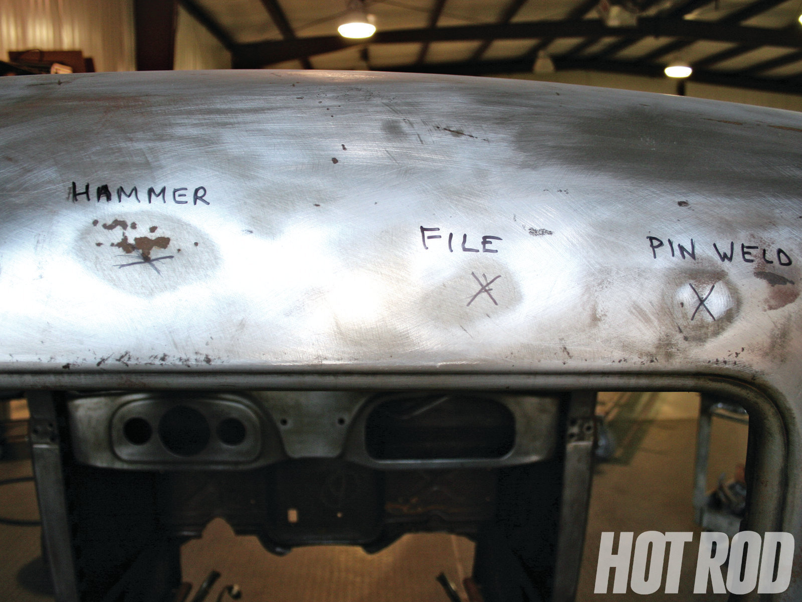 Here are three dents of different depths on this '36 Ford Truck cab. We will show the top three methods to repair each one.