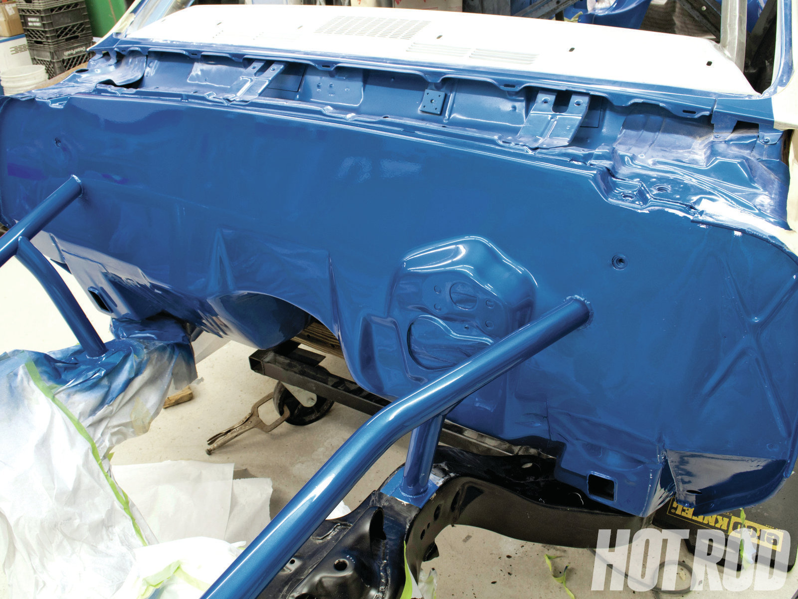 Here's the finished product. Tony and T.J. installed the Ultimate version of the ABC Performance Smoothie Panel in this Chevelle, deleting the windshield wiper motor and extending it all the way to the driver side of the car. You can see how flat and smooth the finished firewall looks. After color-sanding and buffing, this will look every bit as good as the hood.