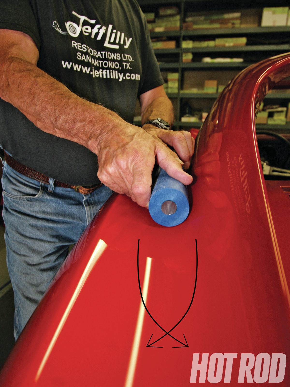 The concave section where the roof meets the quarter-panel on a lot of bodies, such as this Corvette, is where this foam block shines. The arrows also show the rotation needed to achieve the best results. Twist your fingers in this direction while moving your arms back and forth on the panels in 18- to 24-inch-long strokes. Everything is done in crisscross patterns; the difference is how long the stroke is and how tight the crisscross.