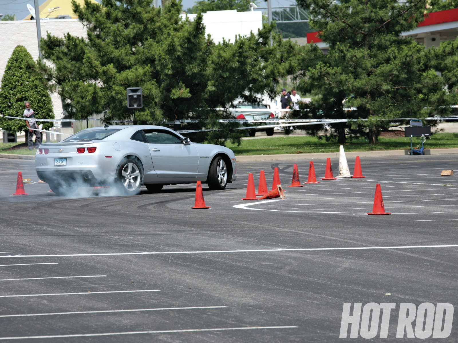 The end of the course is usually flagged by a taller cone, such as the white one here. This guy is close to taking out the lights with his left side. Don't do that.