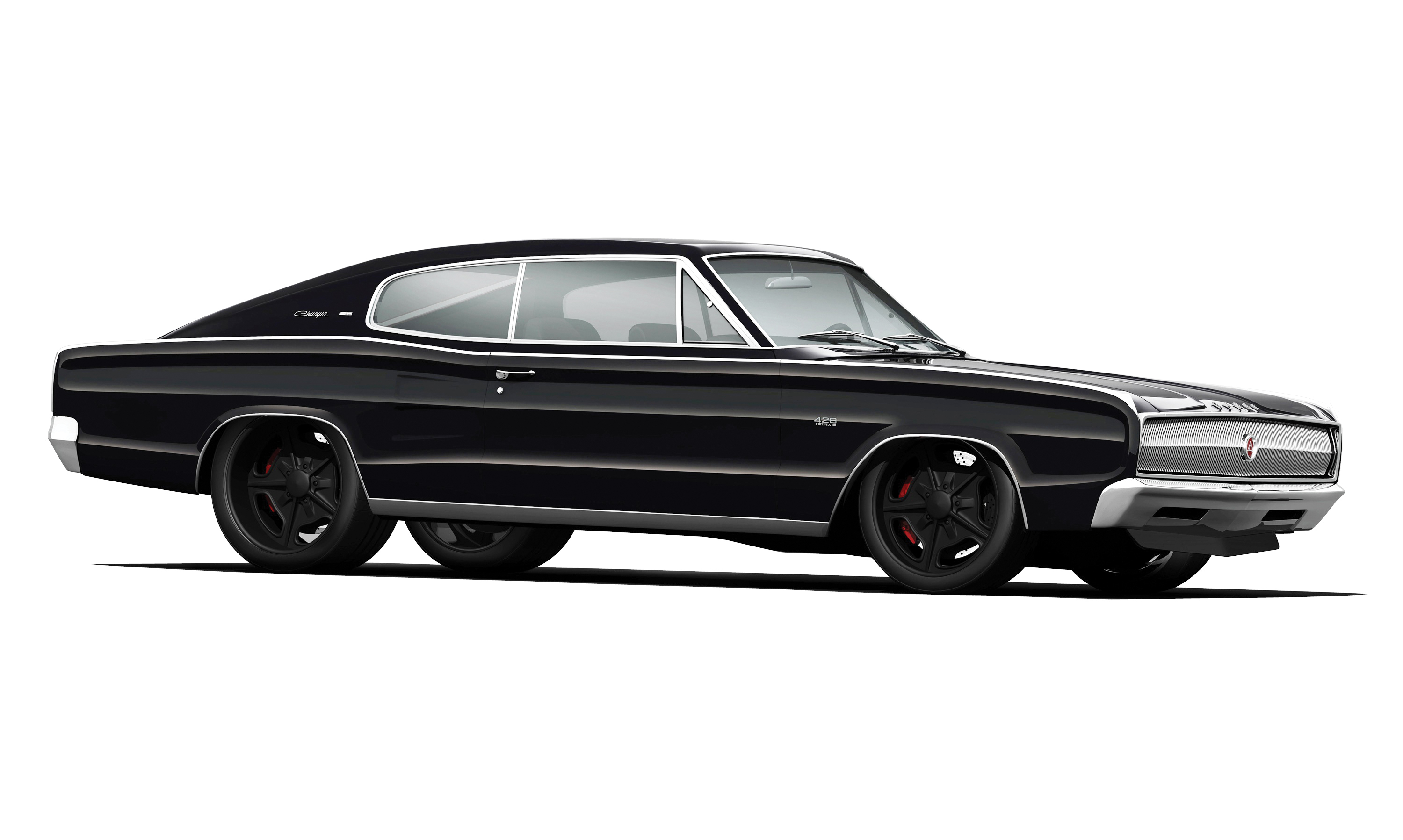 Depending on how deft our pressman at the printing plant is, you may or may not be able to make out the shape and size of the black wheels in the top rendering. The second one shows a dark—but not black—wheel center, and a vibey red pinstripe. Stealthy, without disappearing.