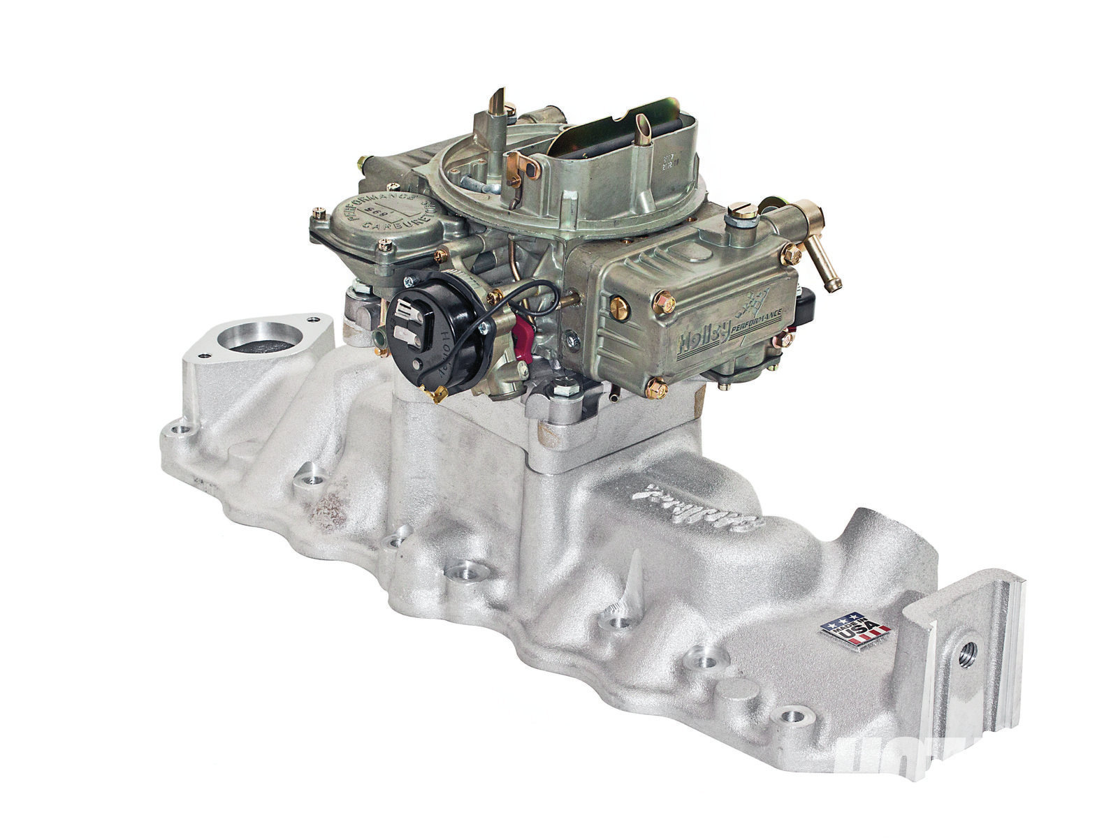 The Edelbrock was the second strongest four-barrel manifold tested. We used Edelbrock's 2½-inch-tall spacer adapter (PN 1701) on all the quad intakes so the 390 Holley would clear the side water outlets and hoses on the '49–'53-style test engine.